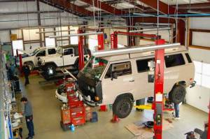 Inside view of repair shop area at Joe's Garage Inc Auto Repair Southampton NY